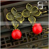 Bride's Jewelry Vintage Brass Flower Shape Stud Drop Earrings Various Designs for Women