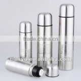 Bullet shape stainles steel vacuum flask with embossed lines on body