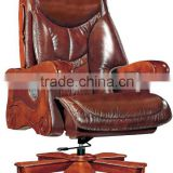 Dubai luxury king boss PU leather CEO office chair with solid wood base and wheels (FOH-A1221)