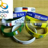 2016 Brazil silicone rubber bracelet,wholesale personalized silicone bracelets for Olympic Games, cheap custom wristbands