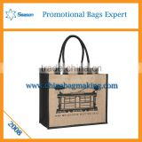 Hot sale leather handle shopping jute bags hessian cloth burlap sack linen bag