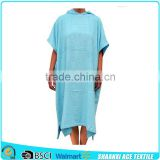 100% cotton light blue color terry loop adult poncho towel for changing clothes on beach solid color adult beach hooded towel