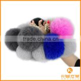 Fashion design factory wholesale fox fur pompoms keychain lovely keychain with fur pompoms KZ151001                                                                         Quality Choice