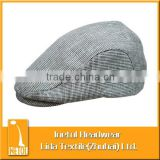 checked cotton beret hat