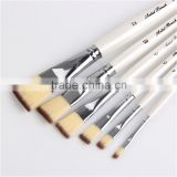 Tip Color Nylon Hair wooden Handle Paint Brush Set of 6 Oil watercolor Brush Pen Wholesale China Art Supplies