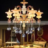 Low Price Crystal Chandelier cheap clear amber glass arm modern hotel chandelier with cups bowls glass raindrops crystals Light