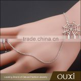 OUXI korean style 18k gold plated spider net ring and charm bracelet jewelry 30360
