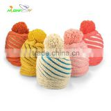 wholesale kniting Stripe Bobble Hat/Custom Beanie Hat, Top Ball/Pom Beanie/colorful ski cap