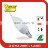 Ceramic energy efficient E14/E27/B22 LED candle bulb & chandelier light 5W Dia38X125mm