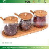 Artistic Glass Spice Condiment Serving Jars / Pots & Spoons (Set of 3) on Bamboo Wood Stand