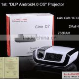 Smart Android Projector !!! C7 1080P 100Hz LED mini pocket projector with Android 4.0 O.S