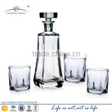 New arrive high quality glass wine decanter and whisky cup set, wine glass bottle set and glass wine bottle set