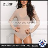 MGOO Custom Minimalist Khaki Mesh Sexy Tops For Ladies Long Sleeves Boat Neck Nylon Spandex Bodysuits