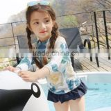 KS30340A Fashion girls kids floral print 3 piece swimwear set with hat sun protection long sleeve swinsuit wholesale