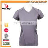 Fashion Design 100 % Polyester Lady V Neck Sports Wear Gym T Shirt