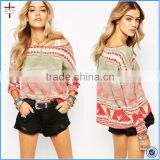 2015 Trendy Crew Neck Pattern Long Sleeve Jumper as knitting sweater for ladies