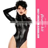 Hot Wholesale Women Sexy Zipper Long Sleeve Teddy Lingerie Latex Catsuit