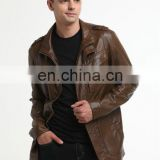 brown leather motorcycle motorbike jacket