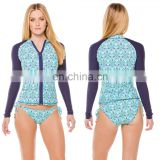 Custom logo design zipper front straps tied bottom long sleeve stretch lycra women compression sublimated rash guards
