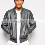 Nappa bomber leather jacket for men 100% Leather Grey