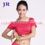 Hot sale ice silk charming women short sleeve belly dance practice costume top S-3022#