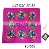 2016 latest design Fashion South Africa Lady Scarf, Hard feeling Acrylic Scarf, Printed Hijab, 100%Polyester square Scarf