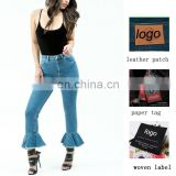 OEM OED High Waisted Slim Mom Jeans With Flared Frill Hem American Fashion women jeans factory buy jeans bulk