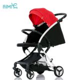 High-view and portable folding baby stroller