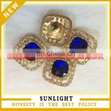 Wholesale fashion blue crystal rhinestone pearl button