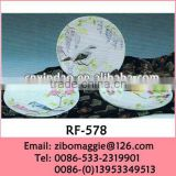 Wholesale Disposable Round Porcelain Plate with Bird Design for Decorative Plate