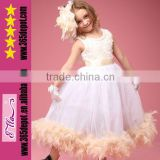 Wholesale Fashion 2014 Girls Party Dress Rosette Feather Dresses baby dress