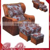 Beiqi Guangzhou European Antique Style Floral Print Pedicure Chair Foot Massage Sofa Chair for Sale