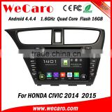 "Wecaro android 4.4.4 car dvd player China Factory 8"" navigation system for car honda civic bluetooth 2014 2015"