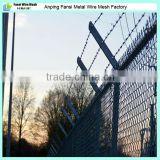 Hot dip galvanized cyclone wire fencing with barbed wire top