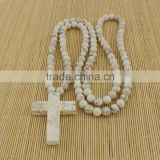 NE2064 Fashion white turquoise beaded chunky cross necklace,white turquoise necklace with cross pendant