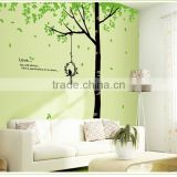Removable Wall Stickers Environmental Green treetops study bedroom living room TV wall background trees bird dining wall sticker