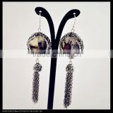 LFD-056E Wholesale Pave Rhinestone Crystal Agate Earring , Chains Tassel Dangle Earrings Jewelry Finding