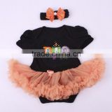 Halloween orange petti romper set newborn baby clothes girls infant ruffle romper with bowknot hair band 2 pcs 2016 baby clothes