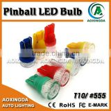 6.3V AC wedge T10 555 BA9S 44 47 5630 2 SMD pinball LED bulb with waved cap for pinball machine