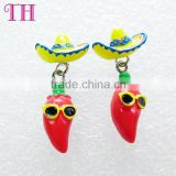 promotion design your own harmless resin strawhat chili shape fashion daily wear earrings 2016                                                                         Quality Choice