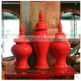 Quality 22 inch Chinese red Ceramic wedding centerpiece vases for home decor