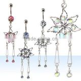 Dangling body jewellery belly button ring belly body piercing jewelry, belly ring, navel body jewellery navel ring