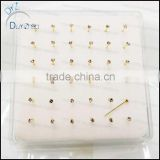 real gold round cz silver nose pins
