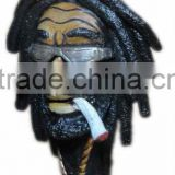 Figurine Shaped Hand Crafted Smoking Pipes - Rasta Man w/. Sun Glasses