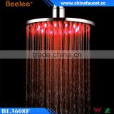 Round Brass Luxury Shower High Pressure Colorful LED Shower Head Powered by Water Pressure