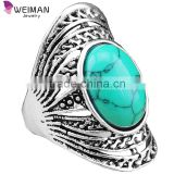 Vintage Look Tibetan Alloy Antique Silver Plated Victoria Style Flower Turquoise Bead Oval Ring
