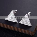 New Luxury Shining Triangular Silver & AAA+ Cubic Zirconia Studs Earring For Women & Girls Ear Studs Gift Piercing Jewelry