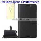 Newest Litchi Texture Flip Leather Case for Sony Xperia X Performance, Cover for Sony X Performance