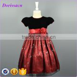 Girls Sequin Mesh Prom Dress With Velvet Top Polyester Skirt Girls Party Baby Girl Clothes Dresses For New Year