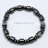 Magnetic Hematite Bracelets, Black, Size: about 54mm inner diameter, beads: about 6~8mm in diameter(BJEW-Q025-1)